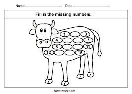 maths worksheet for kids kindergarten missing numbers cow kids