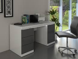 bureau gris laqué bureau loic leds 1 porte 3 tiroirs blanc gris