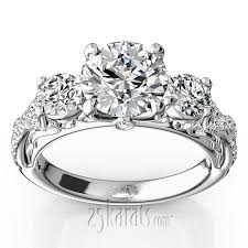 engagement rings diamond twist shank three diamond engagement ring 1 00 ct t w