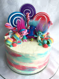 trolls birthday cake all buttercream icing the top is loaded