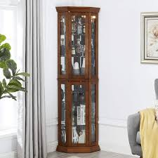 how to clean corners of cabinet doors details about chadior corner curio display cabinet with tempered glass doors adjustable shelve
