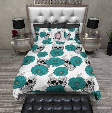 teal poppy and white skull duvet bedding sets ink and rags