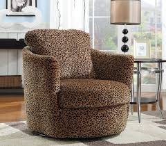coaster swivel accent chair in leopard pattern
