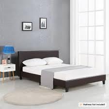 ikayaa modern upholstered linen platform bed frames with wood