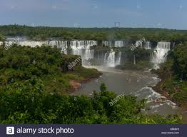 iguazu falls in the jungle natural wonder of the world stock