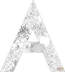 letter a with plants coloring page free printable coloring pages