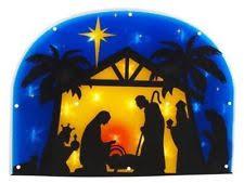 lighted nativity window decoration indoor outdoor