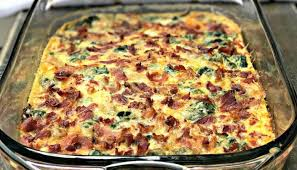 egg strata casserole carb bacon egg and spinach breakfast casserole