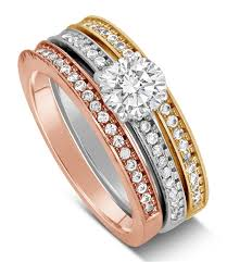 rose color rings images 2 carat round cut tri color white rose and yellow gold trio jpg