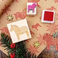 dala horse rubber stamp christmas rubber stamp stocking