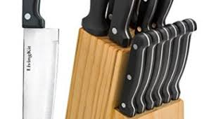 livingkit knife set with wooden block high durability stainless