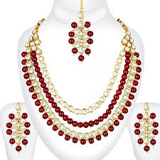 bridal wedding necklace set images Spargz designer bollywood red kundan mala long necklace set indian jpg