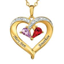 necklace with diamond heart images Forever together birthstone diamond heart pendant the danbury mint jpg