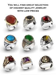 sterling gem rings images 925 k sterling silver turkish men rings with gemstones from jpg