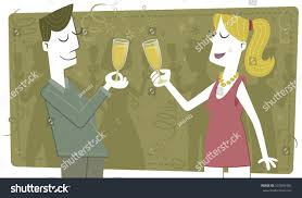 cartoon wine glass cheers toast cheers retro style illustration couple stock vector