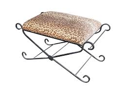 Vanity Stools Benches Vintage Leopard Print Wrought Iron Vanity Bench Chairish