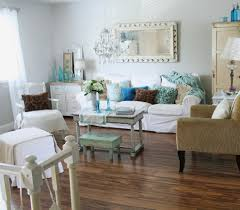 brown wall chic shabby living room cream rug added white wall