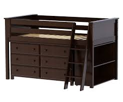 jackpot cherry finish low loft bed with dresser and bookcase