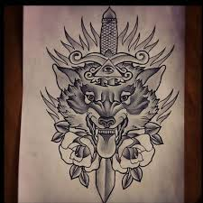 grey ink dagger and wolf design neo traditional
