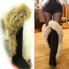 womens flat boots australia european luxury knee high fox fur boots flat bottes femmes 2017