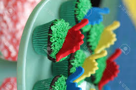 dinosaur cupcakes kids birthday party dinosaur cupcakes stock photo picture and