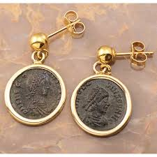 14kt gold earrings ancient bronze coins in solid 14kt gold earrings circa a d
