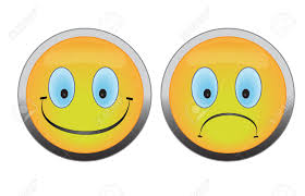 unhappy happy and unhappy smile buttons on white background royalty free