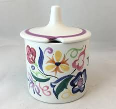 willow pattern jam pot poole pottery hand painted jam pot in the cs pattern