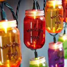 Patio String Lighting by Colorful Mason Jar Outdoor String Lights