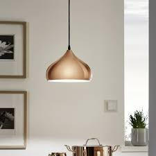 hanging light pendants for kitchen eglo hapton polished copper pendant light pendant lighting