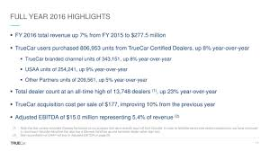 Office Job Resume by Truecar Inc 2016 Q4 Results Earnings Call Slides Truecar