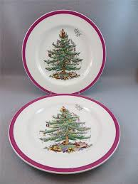 2 dinner plates spode tree magenta made in