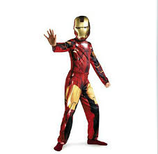 1set children cosplay supplies iron man costume with mask stretchy