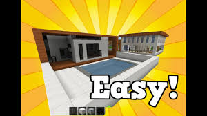 Build Pool House by Minecraft Simple And Easy Modern House With Swimming Pool How To