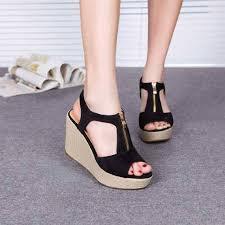 Jual Wedges sandal wedges hitam model terbaru murah