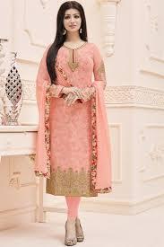 peach color buy designer peach color georgette embroidered salwar suit