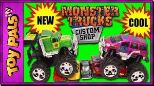 monster truck videos please monster trucks custom shop video for kids customize monster