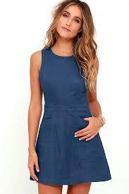 lovely blue dress chambray dress halter dress 54 00