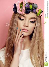 s headband beautiful girl with hair with bright flower s