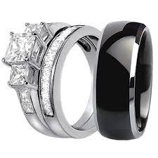 black titanium wedding band 15 best collection of black titanium wedding bands sets