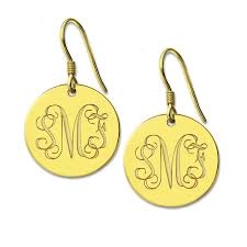 Monogrammed Earrings Freeshipping Personalized Round Monogram Earrings Silver Engraved