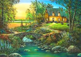 misc river color water sunset splendor nature house stones