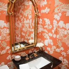 Toile Bathroom Wallpaper by Powder Room With Blue And Orange Chinoiserie Wallpaper