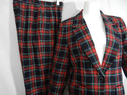 vintage pendleton jacket pants black stewart clan scottish tartan
