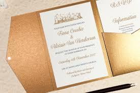 wedding invitations glasgow lochgreen house hotel wedding invitation in antique gold
