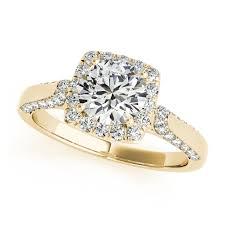 unique gold engagement rings gold engagement ring square halo unique side stones