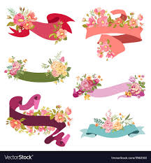 floral ribbon floral ribbon banners for wedding royalty free vector