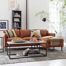 Leather Chaise Couch Hamilton 2 Piece Leather Chaise Sectional West Elm Wants