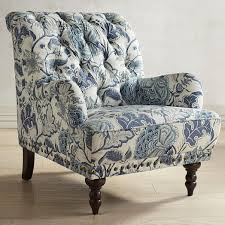 Blue And White Accent Chair Floral Accent Chairs Print Armchair With Button Tufted And Flower
