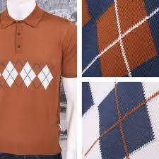get up mod retro argyle front sleeve knit polo